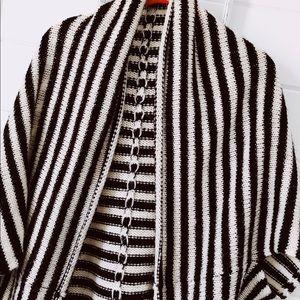 Oversized striped dolman cardigan sweater